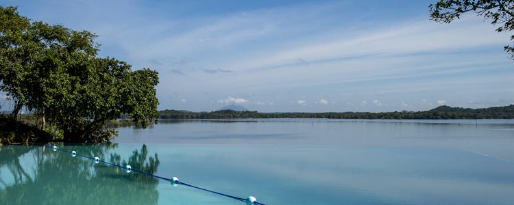 Er ist der Schönste im ganzen Land: Der Pool des Designerhotels Kandalama, gebaut von Stararchitekt Geoffrey Bawa